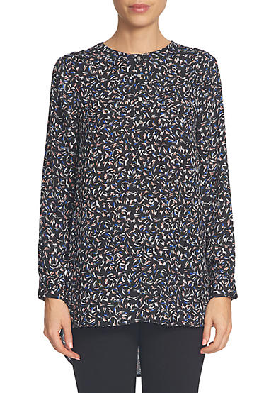CeCe Long Sleeve Ditsy Touches Henley Blouse