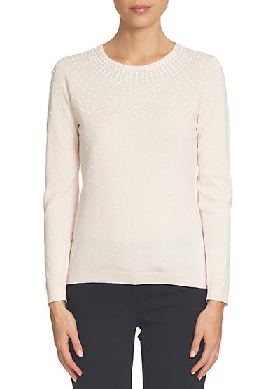 CeCe Long Sleeve Ombre Pearl Encrusted Pullover