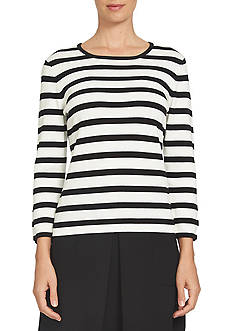 CeCe Jersey Stripe Bow Sleeve Pullover