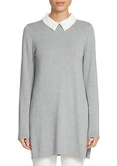 CeCe Long Sleeve Embellished Collar Sweater Dress