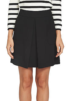 CeCe Moss Crepe Invert Pleat Skirt