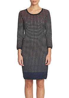 CeCe Jacquard Ombre Grid Body-Con Sweater Dress