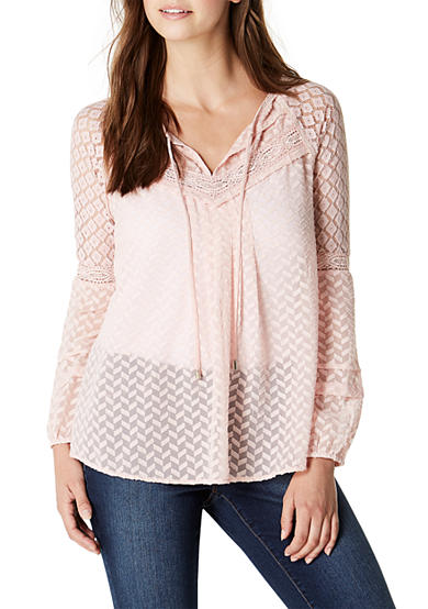 Nine West Jeans Melanie Lace Peasant Top