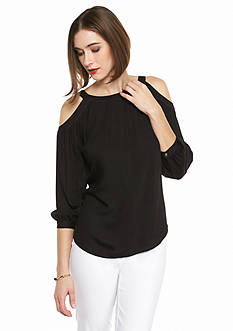 Kaari Blue™ Cold Shoulder Tie Back Blouse