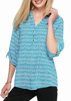 Kaari Blue™ Printed Bow Sleeve Blouse