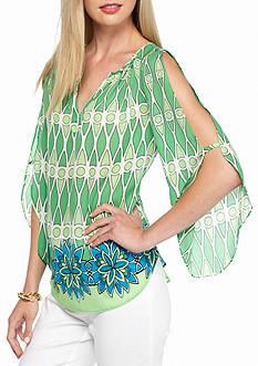 Kaari Blue™ Printed Split Sleeve Top