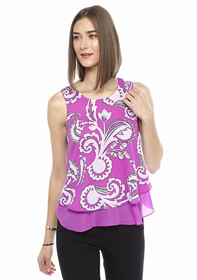Kaari Blue™ Printed Sleeveless Ruffle Tier Top