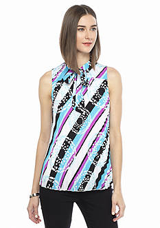 Kaari Blue™ Printed Pleated Bow Front Blouse