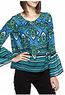 Kaari Blue™ Bell Sleeve Tie Neck Blouse