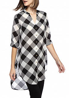 Kaari Blue™ Plaid Button Front Tunic