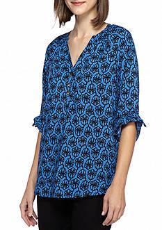 Kaari Blue™ Floral Tie Sleeve Blouse