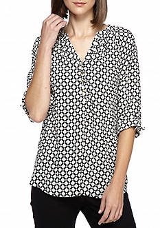 Kaari Blue™ Grid Dot Tie Sleeve Blouse