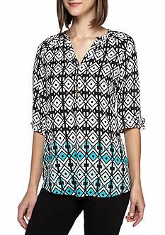 Kaari Blue™ Geo Print Tie Sleeve Blouse