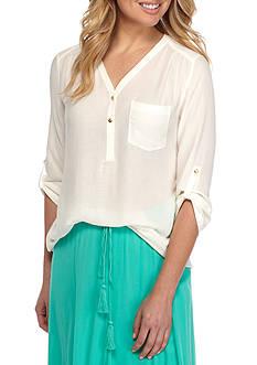 Kaari Blue™ Three-Quarter Roll Sleeve Blouse