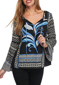 Kaari Blue™ Cutout Woven Printed Blouse