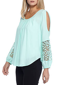 Kaari Blue™ Crochet Cold Shoulder Blouse