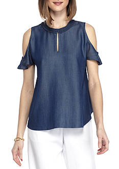 Kaari Blue™ Woven Cold Shoulder Top
