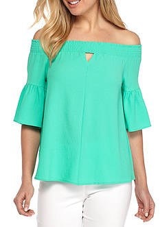 Kaari Blue™ Off The Shoulder Flutter Sleeve Top