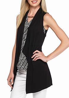 Kaari Blue™ Drape Front Sleeveless Cardigan