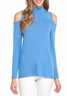 Kaari Blue™ Mock Neck Cold Shoulder Top