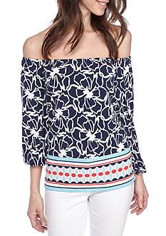 Kaari Blue™ Print 3/4 Sleeve Side Tie Top