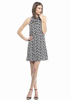 Kaari Blue™ Printed Tie Button Front Sleeveless Dress