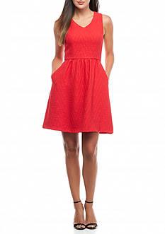 Kaari Blue™ Jacquard Fit & Flare Dress