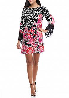 Kaari Blue™ Lace Bell Sleeve Print Dress