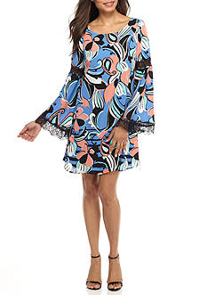 Kaari Blue™ Lace Trim Bell Sleeve Dress