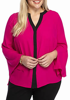 Kaari Blue™ Plus Size 3/4 Sleeve Placket Pleated Back Shirt