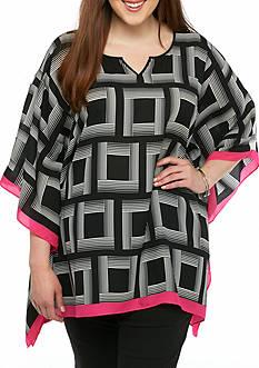 Kaari Blue™ Plus Size Woven Printed Poncho