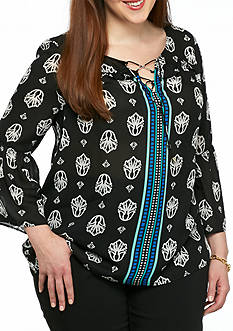 Kaari Blue™ Plus Size Front Tie Peasant Top