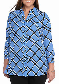Kaari Blue™ Plus Size Three-Quarter Sleeve Pleated Tunic