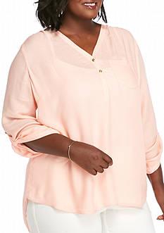 Kaari Blue™ Plus Size 3/4 Rolled Sleeves Shirt
