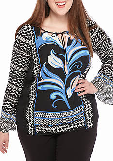 Kaari Blue™ Plus Size Flare Sleeve Woven Peasant Top