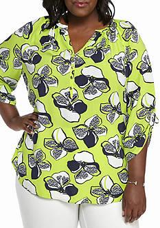 Kaari Blue™ Plus Size Cinched Sleeve Top