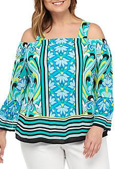 Kaari Blue™ Plus Size Open Shoulder Top