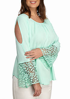 Kaari Blue™ Plus Size Crochet Cold Shoulder Top