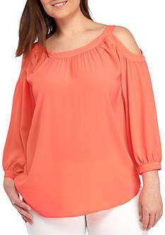 Kaari Blue™ Plus Size Woven Cold Shoulder Blouse