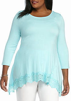 Kaari Blue™ Plus Size 3/4 Sleeve Asymmetrical Knit Top