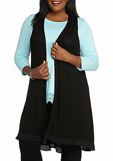 Kaari Blue™ Plus Size Sleeveless Knit Cardigan