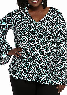 Kaari Blue™ Plus Size Bell Sleeve Knit Top