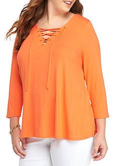 Kaari Blue™ Plus Size 3/4 Sleeve Laceup