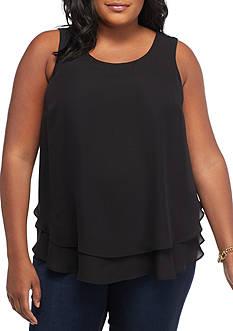 Kaari Blue™ Plus Size Double Keyhole Peplum Sleeveless Top