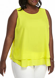 Kaari Blue™ Plus Size Double Keyhole Peplum Sleeveless Top