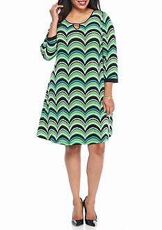 Kaari Blue™ Plus Size Wave Printed Dress