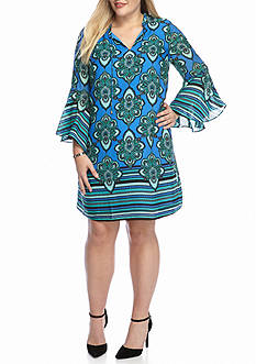 Kaari Blue™ Plus Size Woven Ruffle Front Dress