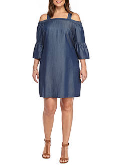 Kaari Blue™ Plus Size Off-the-Shoulder Ruffle Dress