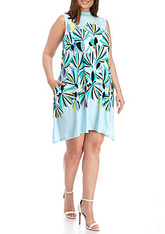 Kaari Blue™ Plus Size Mock Neck Swing Dress