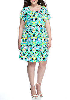 Kaari Blue™ Plus Size Jersey Knit Swing Dress